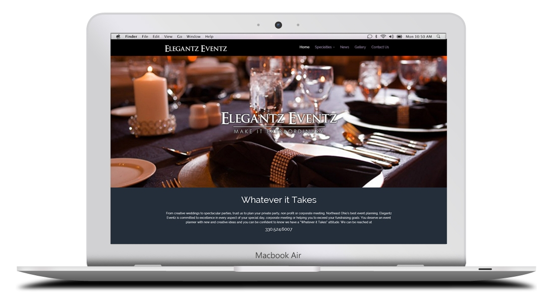 Kaptur Design - Elegantz Eventz Website Design